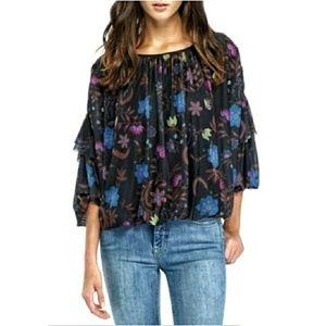 Free People Wild Honey Black Floral Mesh Top Small
